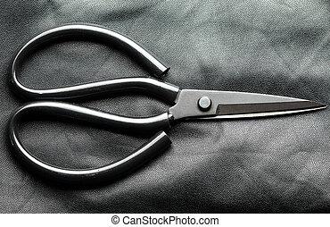 läder, klippande, scissors.