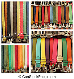 läder, kollektion, italien, färgrik, bälte