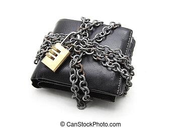 läder, låsa, numerisk, plånbok, svart, vaddera