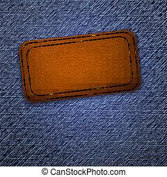 läder, label., vector.