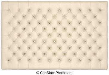 läder, lyxvara, buttoned, beige, madrass