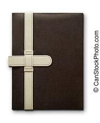 läder, nära, anteckningsbok, täcka, brun