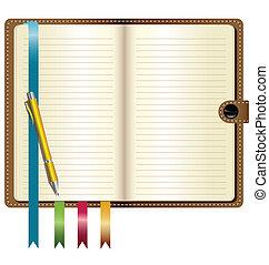 läder, penna, anteckningsbok, guld