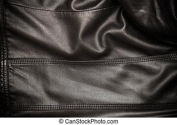 läder, svart fond