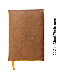 läder, täcka, anteckningsbok, brun