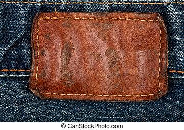 läder, tom, jeans, etikett