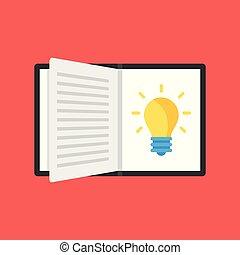 lägenhet, öppnat, tänkande, lätt, nymodig, illustration, skapande, nyskapande, idé, vektor, bulb., concepts., utbildning, inspiration, bok, design.
