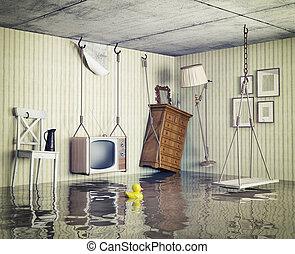 lägenhet, översväm, liv