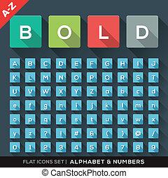 lägenhet, alfabet, sätta, numrera, ikonen