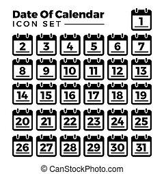 lägenhet, alla, 31, varje, illustration, månad, 1, vektor, mall, år, datera, kalender, ikon