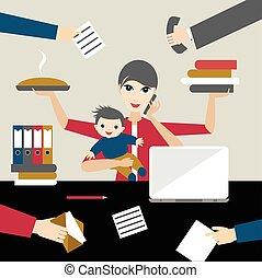 lägenhet, arbete, affär, mor, person., offiice., vector., barn, multitasking