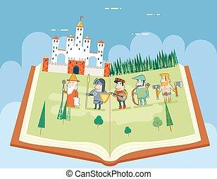 lägenhet, begrepp, bakgrund, tales, sky, illustration, symbol, fält, vektor, böcker, skog, mall, historia, design, slott, läsning, fe, ikon