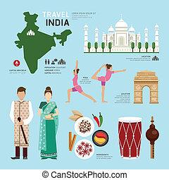 lägenhet, begrepp, illustra, ikonen, resa, indien, design, gränsmärke, .vector