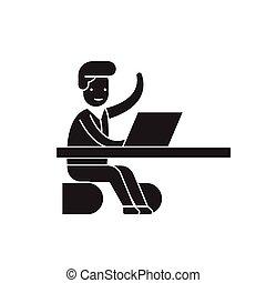 lägenhet, begrepp, kontor, illustration, underteckna, ögonblick, vektor, svart, kommande, icon.