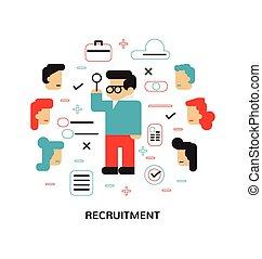 lägenhet, begrepp, nymodig, rekrytering, hyr, val, vektor, illustration, passande, design, bäst, anställd