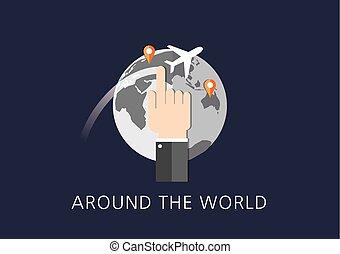 lägenhet, begrepp, omkring, ikon, värld