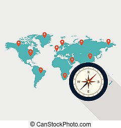 lägenhet, begrepp, omkring, resa, design, värld