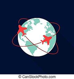 lägenhet, begrepp, resa, design, värld, ikon
