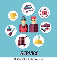 lägenhet, begrepp, rum service, hotell, design