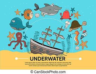 lägenhet, begrepp, undervattens, värld