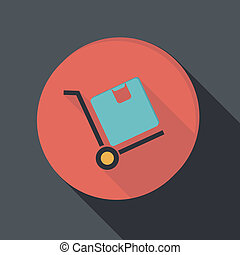 lägenhet, box., papper, lastbil, logistisk, ikon, icon.