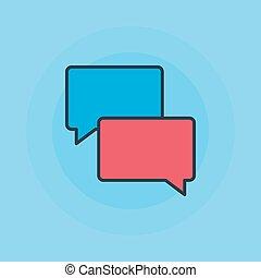 lägenhet, bubblar, anförande, ikon