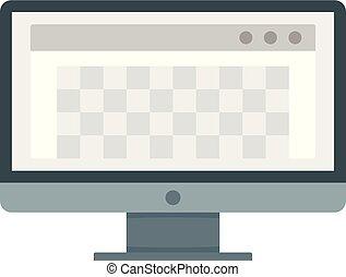 lägenhet, dator, stil, foto, ikon, redaction, skrivbord