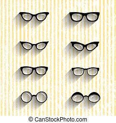 lägenhet, design, glasögon, vektor, sätta, med, skuggor, på, grunge, stripes, bakgrund