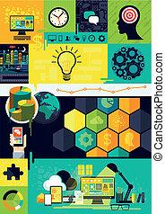 lägenhet, design, infographic, symboler