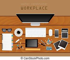lägenhet, design, plats, arbete