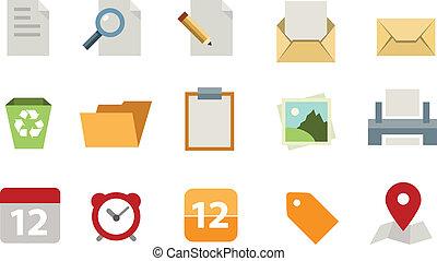 lägenhet, dokument, sätta, ikon