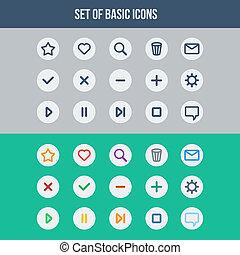lägenhet, elementara, ikonen, -, set formge, nät, grundläggande, ui