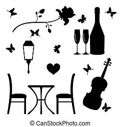lägenhet, evening., sätta, romantisk, ikonen