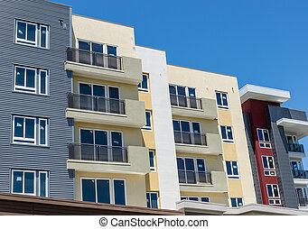 lägenhet, färsk, byggnad