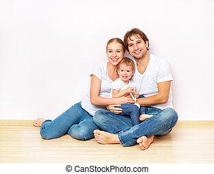 lägenhet, familj, tom, golv, lycklig, vägg, inteckna, köpt