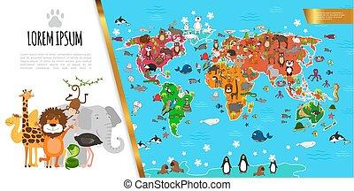 lägenhet, fauna, komposition, världen kartlägger