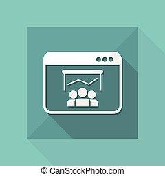 lägenhet, finansiell, -, vektor, möte, minimal, ikon