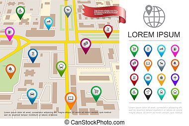 lägenhet, gps, begrepp, stad kartlagt