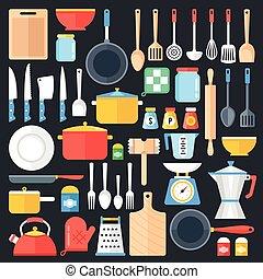 lägenhet, grafisk, elementara, köksutrustning, ikonen, sätta, collection., set., nymodig, illustration, utensils, vektor, cookware, design, objects., redskapen, concept., kök
