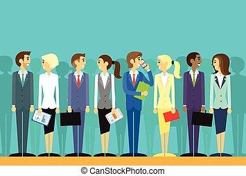 lägenhet, grupp, affärsfolk, vektor, mänskliga resurser