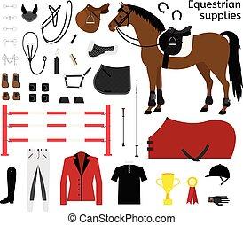 lägenhet, häst, sätta, ryttare, utrustning, vektor