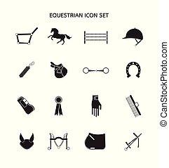 lägenhet, häst, sätta, utrustning, vektor, svart, ikon