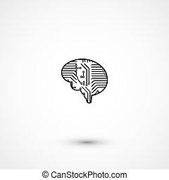 lägenhet, hjärna, elektrisk, strömkrets, ikon