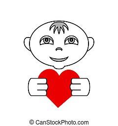 lägenhet, hjärta, enkel, vektor, räcker, logo, unge