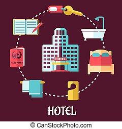 lägenhet, hotell, design, service
