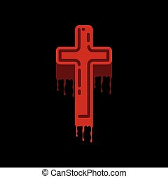 lägenhet, ikon, kors, bakgrund, blod