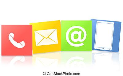 lägenhet, ikonen, färga, oss, kontakta, design, frisk