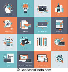 lägenhet, ikonen, för, design, utveckling