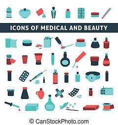 lägenhet, ikonen, för, medicin, och, skönhet