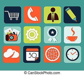 lägenhet, ikonen, för, nät, och, mobil, applikationer
